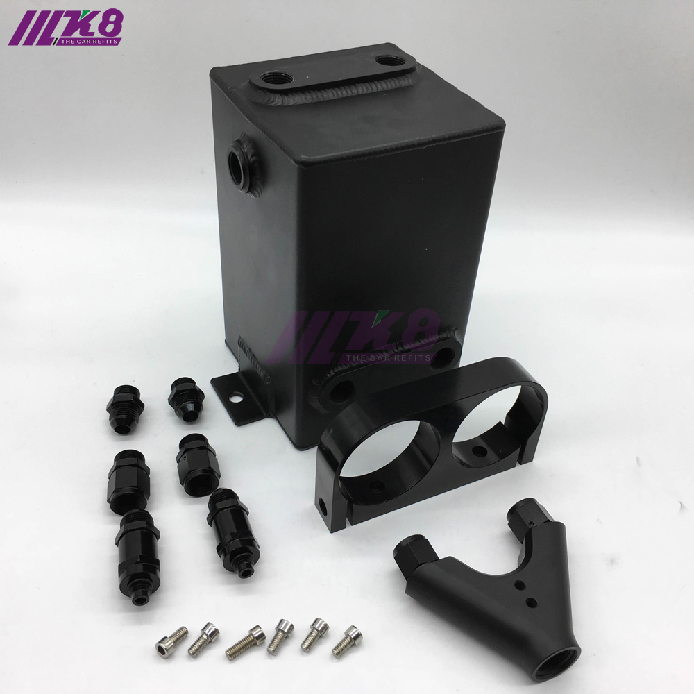 Black Fuel Tank 3L RAW Aluminum SURGE TANK Y Block Bracket FUEL PUMP DUAL EFI WITHOUT 044 FUEL PUMP lzone racing black aluminium fuel surge tank with cap foam inside fuel cell 40l without sensor jr tk21bk
