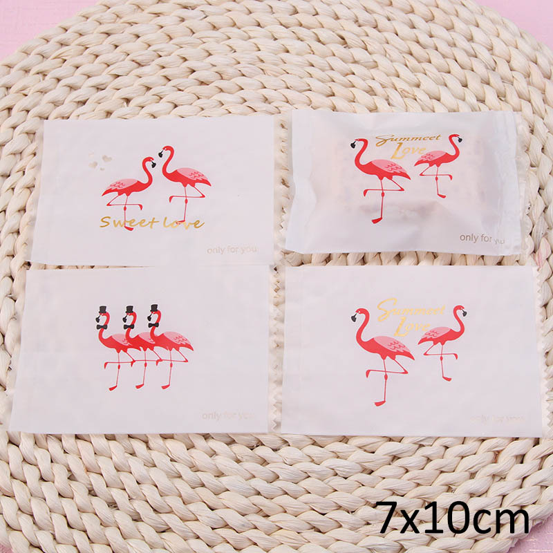 100Pcs Scrub Sealing Bags Plastic Cookie Bag Small Gift Creative Flamingo Candy Nougat Package Biscuits Baking Accessories