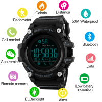 Sports Wristwatch Men's Digital Smart Watch Man Bluetooth Pu Strap Calorie Calculation Pedometer El Back Light Smart Wrist Watch