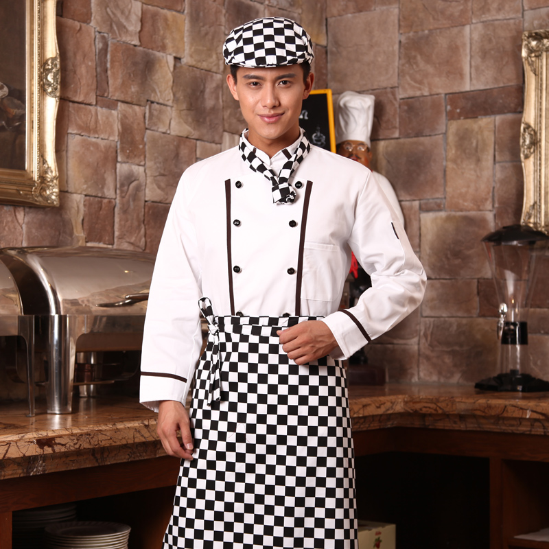 10pcs Cook Suit\long-sleeve Chef After Work Clothes Cotton Restaurant Work Clothes Hotel Uniforms Cooker Work Wear Long Shirt