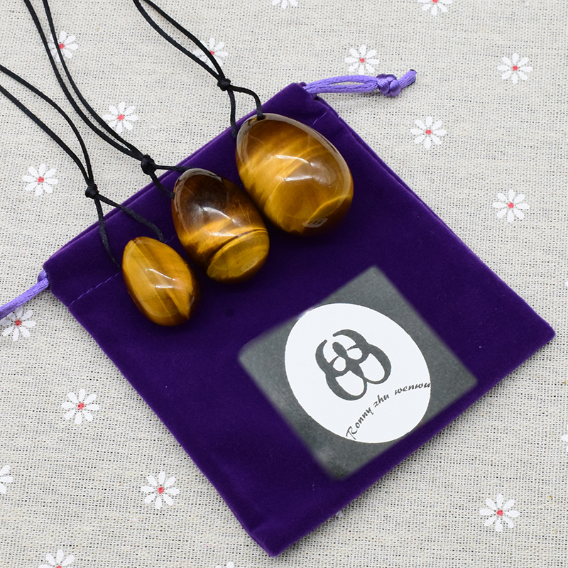 100% Natural Tiger Eye Yoni Egg Telur Gemstone Jade Jade Telur untuk - Penjagaan kesihatan - Foto 5