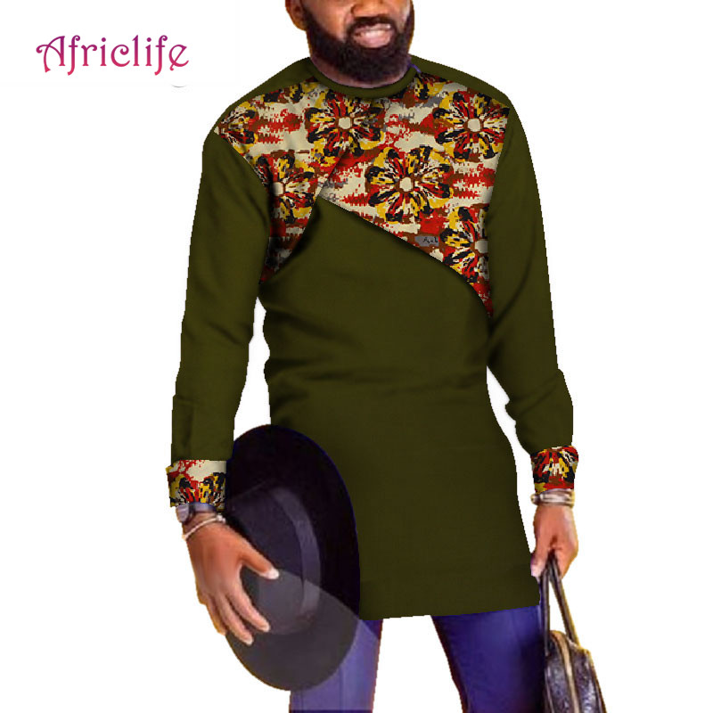 Generic Mens Dashiki Plus Size Stand up Collar African Floral Print Western Shirt