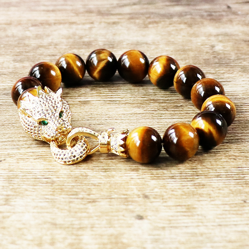 Trendy Animal Jewelry Tiger Eye Natural Stone 12mm Mala Beads Micro Pave Zircon Copper Leopard Charm Men Bracelet