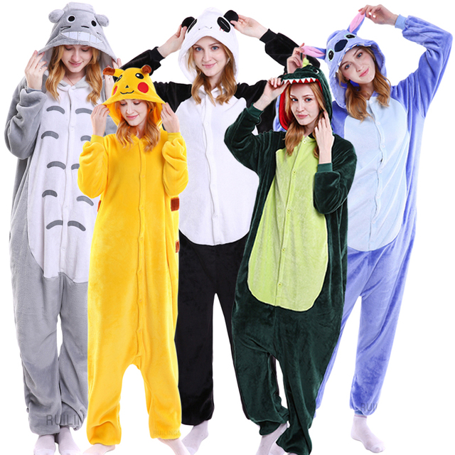 Lovers Animal Costume Onesies Adult Stitch Cosplay Pajama Women Men Party Jumpsuit Cartoon Onesie Unicornio Panda Funny Pijama