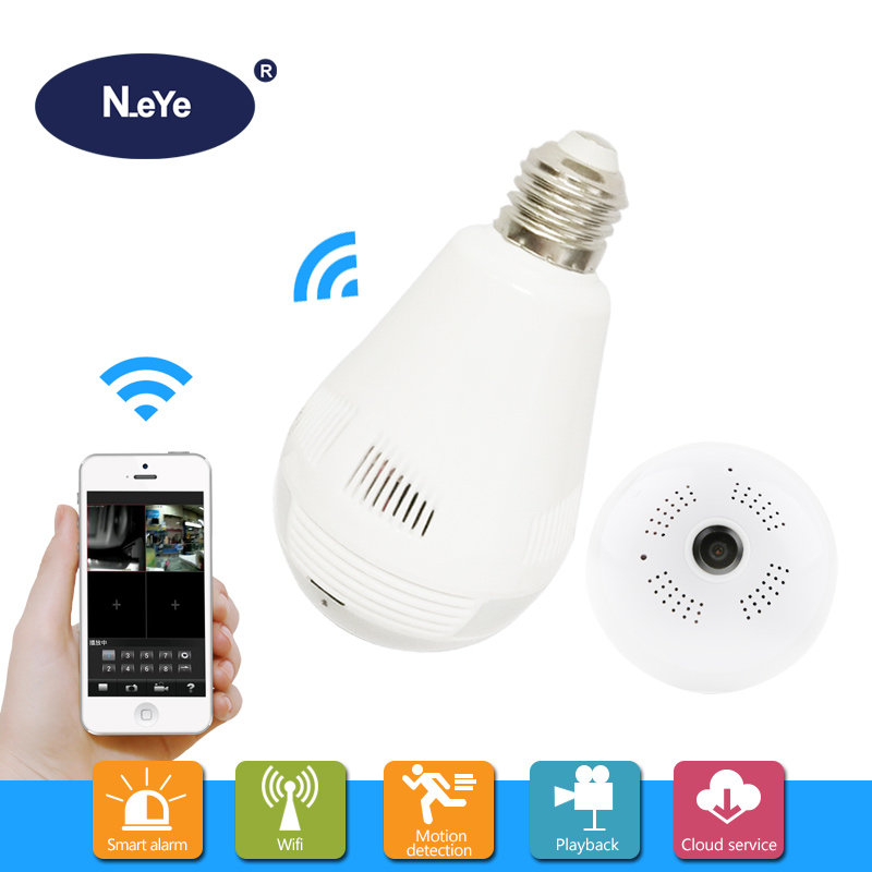 N eye IP Camera wi fi HD 1080P Professional Panoramic Lamp Camera 360 Home Security font