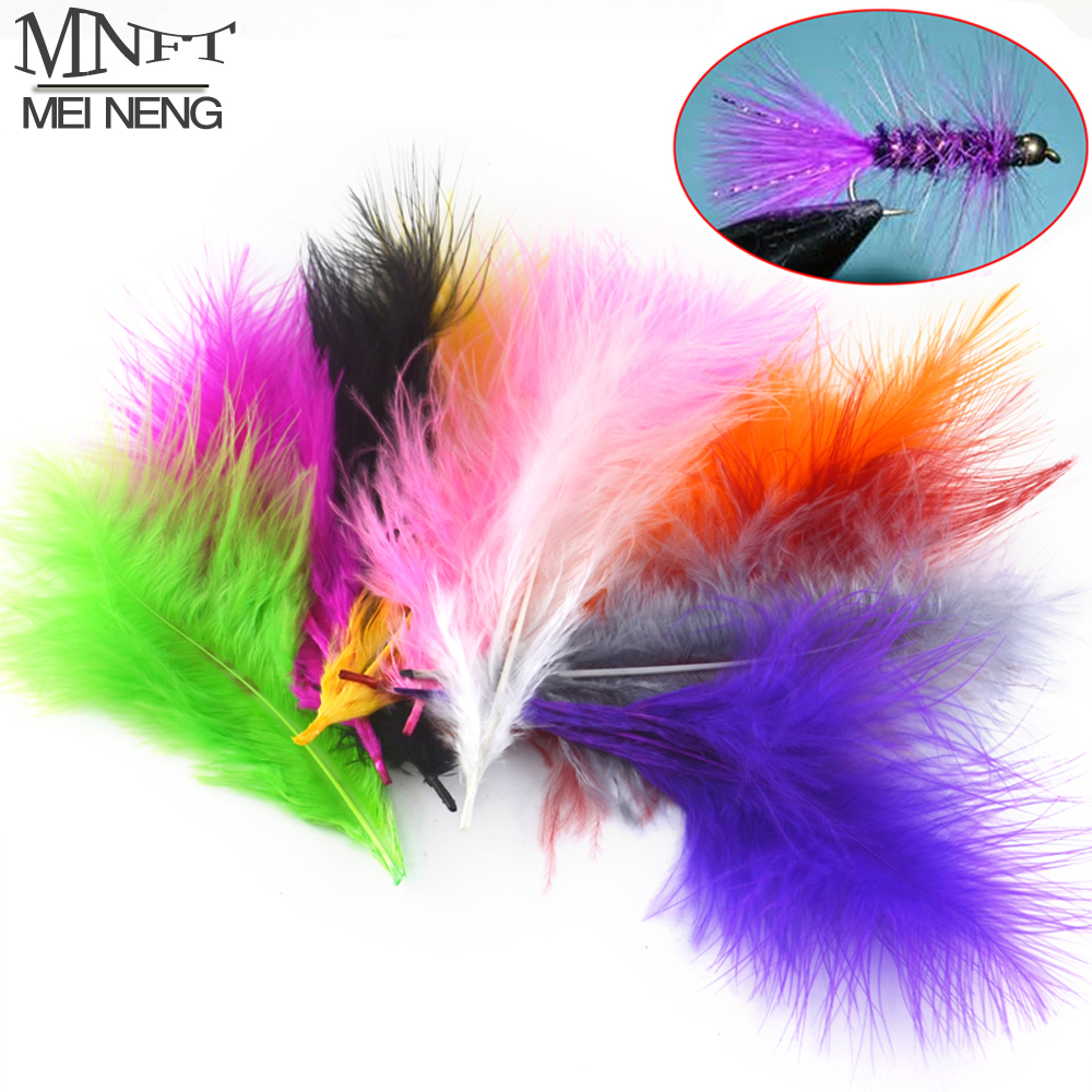 MNFT 50pcs Multiple Color Turkey Marabou Bugger Feather For Fly Tying Material Lure Bait Making White Purple Pink Black Grey Etc mnft 10 colors select 0 3mm 30m copper wire fly fishing lure bait making material midge larve nymph fly tying material