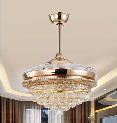 LED Chips Luxury Ceiling Fan Light Crystal With Remote Control Simple Modern