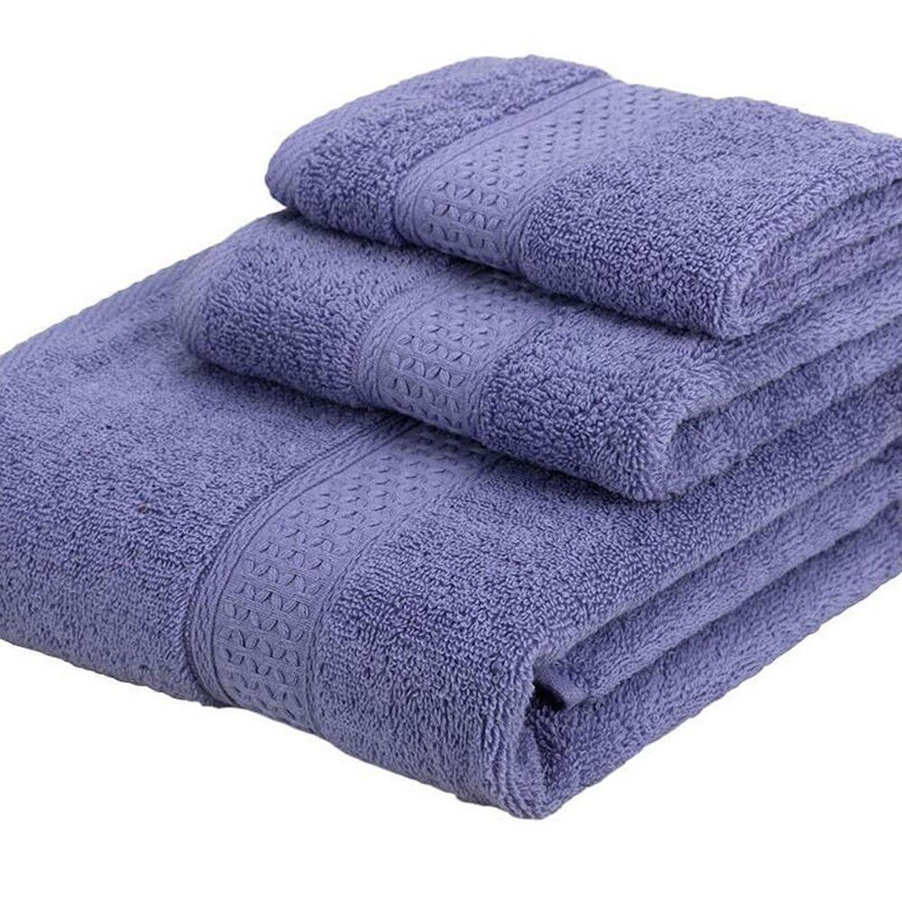 Enipate 3pcs/set 100% Cotton Towel Set Bathtowel + Facetowel + Handtowel Soft Bath Face  ...