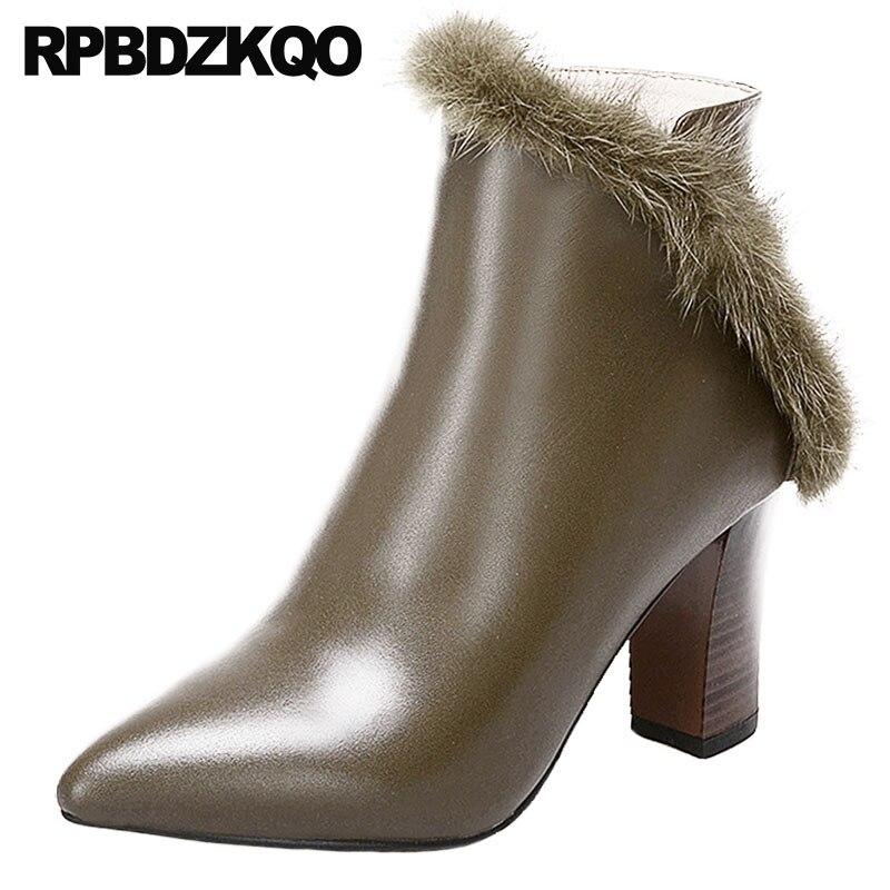 1a947b766 Zapatos Chino Invierno Mujer Marca Khaki Punteado Grande Piel Nuevo Genuina  Señoras Otoño Femenino negro Alto Fornido Negro 2018 ...