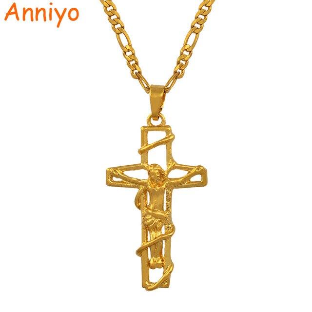 Anniyo Crucificação de Jesus Cruz Dos Homens, Por Atacado Colar de Pingente  de Crucifixo de 22a3b12b3c