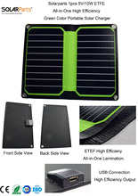 Solarparts New Arrival 1x 5V/10W ETFE lamianted all-in-one high efficiency portable solar charger 12V solar panel cell flexible