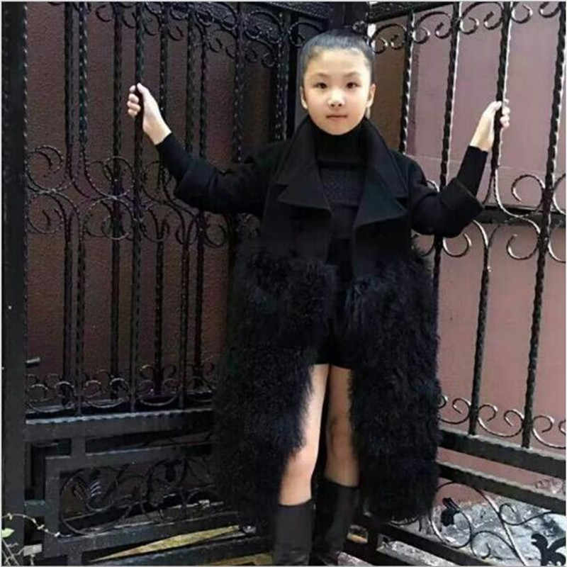 Elegant faux fur coat girl's Fluffy warm long sleeve wool outerwear Black chic autumn winter coat jacket hairy overcoat QV28