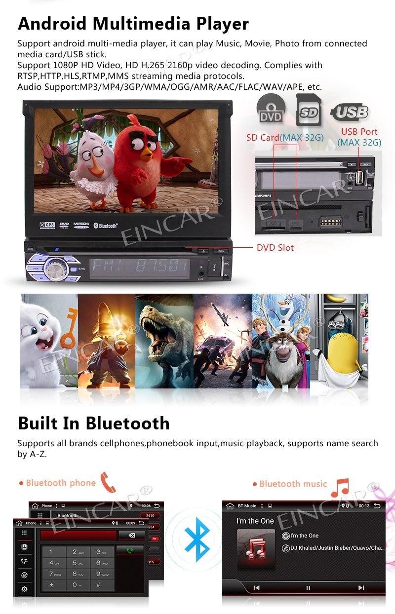 Android 6.0 lecteur DVD Auto radio stéréo 1 Din + GPS, Bluetooth, RDS, WIFI, écran tactile + caméra de recul + télécommande - 4