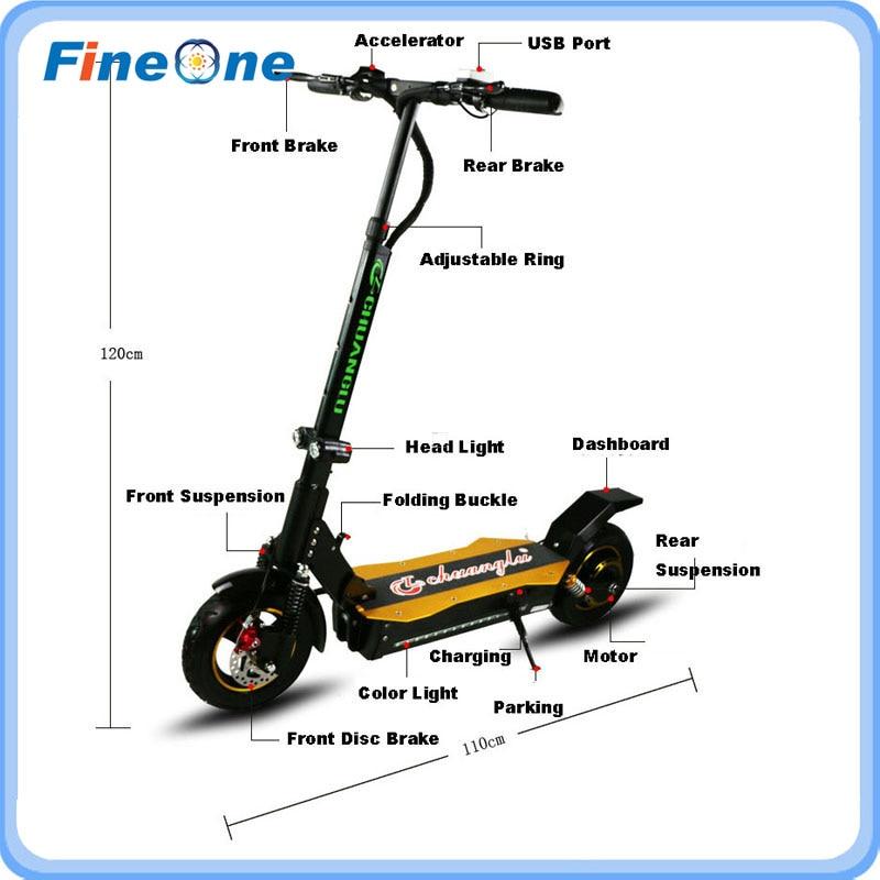 1600 W Güçlü Elektrikli Scooter Katlanır Kaykay Yetişkin - Bisiklet Sürmek - Fotoğraf 5