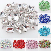 hot deal buy 50pcs/bag 11 shapes mix 26 colors silver claw setting nice glass crystal sew on rhinestone wedding dress shoes bags diy trim