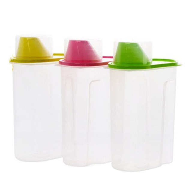 Useful 2.5L Transparent Plastic Storage Box Dry Food Storage Box Clear  Cereal Container Box