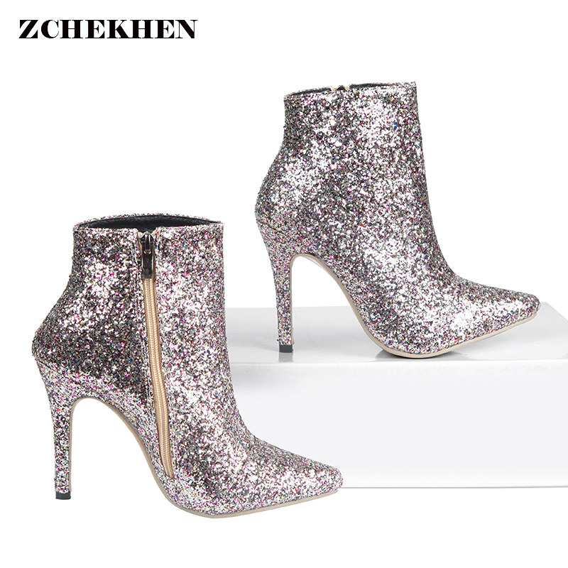 2e2f8930850a Bling Sequined Zipper Pointed Boots Women High Heeled 10CM Winter Shoes  Evening Party Casual Fashion Ladies Ankle Boots