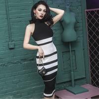 Vrouwen vintage fantasy zwart wit gestreepte halter gebreide knitwear potlood mouwloze bodycon knie party trui jurk