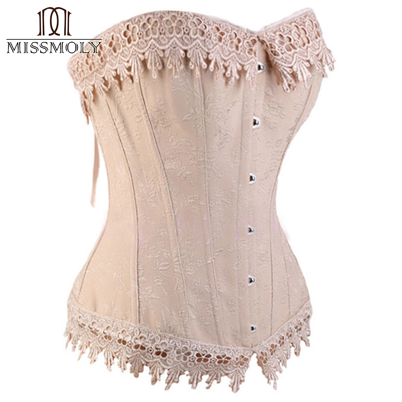 646abab084 Miss Moly Womens Sexy Corset Top Bustier Overbust Nude Lace Up Back  Lingerie Shapewear Cincher Waist Cincher Corsets S M L 6XL-in Bustiers    Corsets from ...
