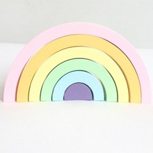 INS Nordic Style Wooden Rainbow Building Blocks for Baby Room Decoration Ornaments Wood Educational Toys Gifts Photography Props