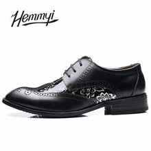 Hemmyi 2017 new leather shoes for men spring/autumn floral brogue shoes for male chaussure homme large size 11 12 13 14