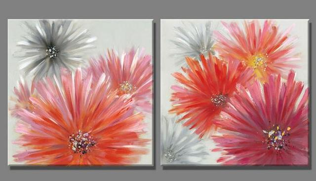 2 Piece European red petals Gray flowers oil painting Canvas ...