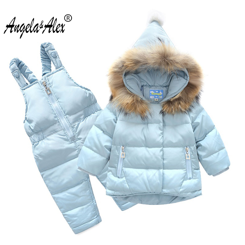 Angela&Alex Baby Girl Winter Jacket White Duck Down Children Warm Clothing Set Parka and Overalls Fur Hooded Baby Boy Clothes children duck down winter warm jacket with fur baby boy girl solid overcoat hooded winter jacket kid clothing fashion down coat