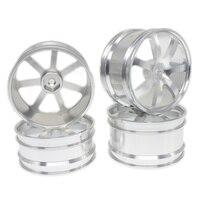 4PCS Front Rear Aluminum Wheel Rims 12mm Hex Hub Diameter 62mm 7 Spokes CNC For HSP
