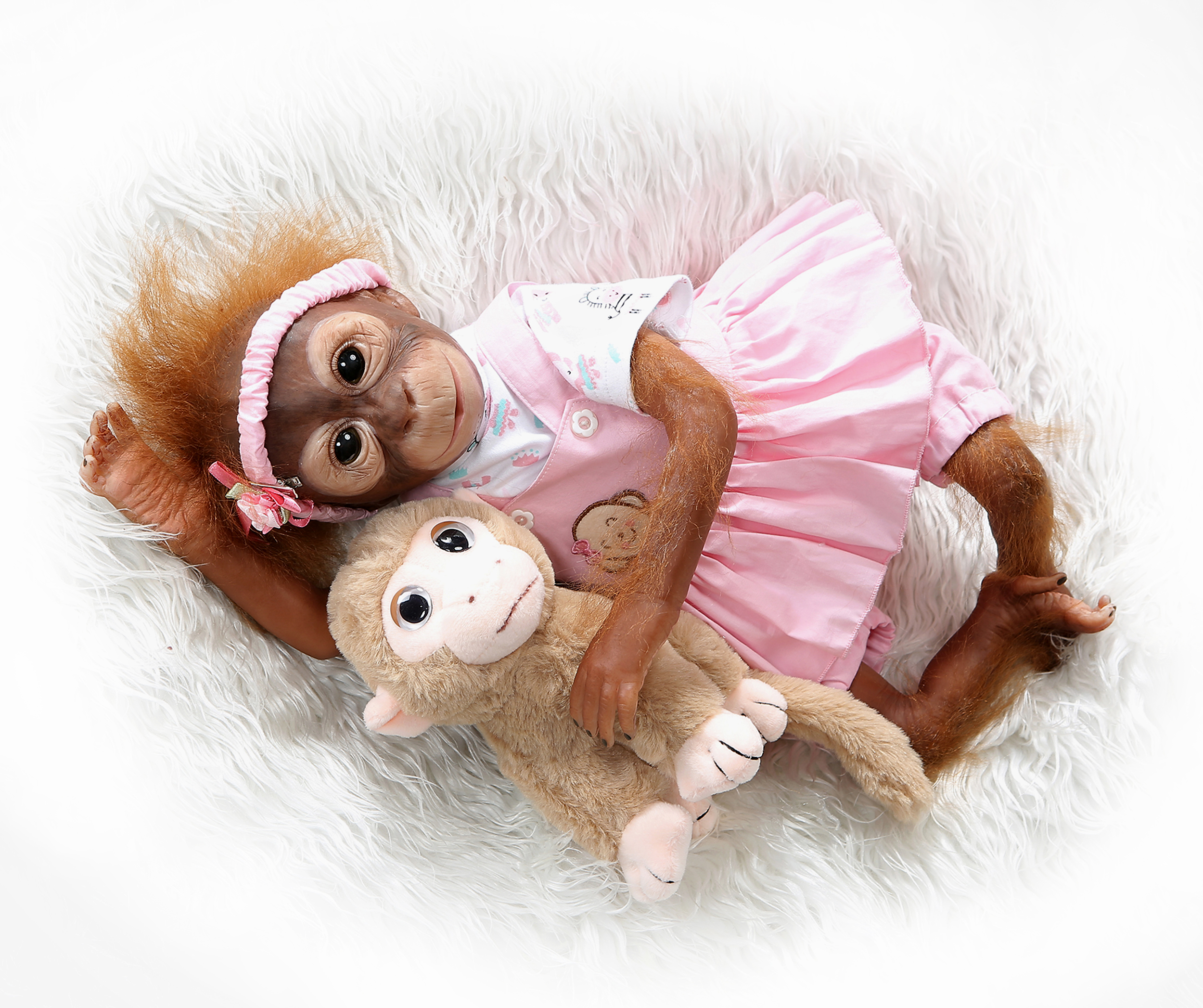 NPKCOLLECTION New 52CM handmade detailed paint reborn baby Monkey newborn baby doll collectible art high quality