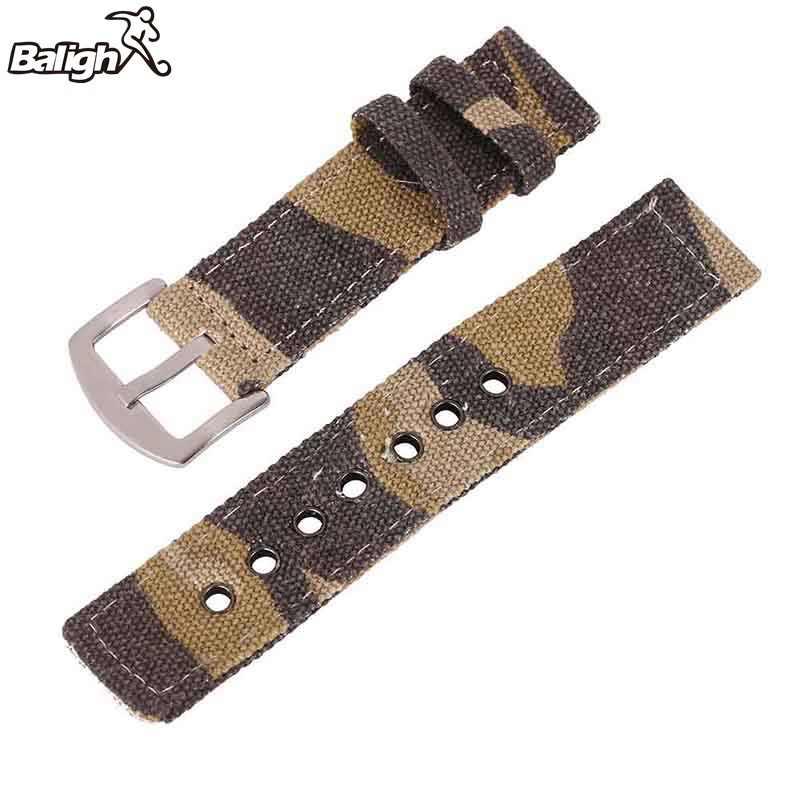 Pasek do zegarka płótno kamuflaż pasek na pasek do zegarka mężczyzna kobiet zegarki akcesoria do paska na rękę bransoletka do zegarka 18mm 20mm 22mm 24mm