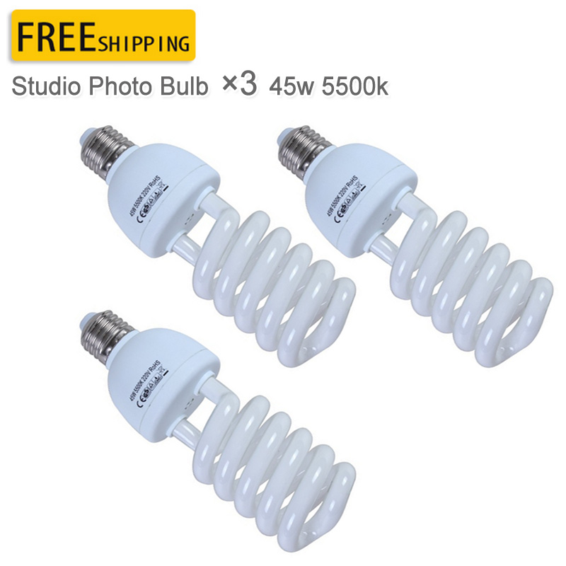 Photographic Lighting 3PCS Pro E27 220V 45W 5500K Photo Video Bulb Photography Studio Light Lamp for Photo in Photographic Lighting from Consumer Electronics