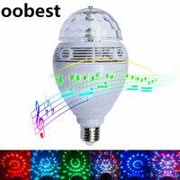 Intelligente E27 RGB Speaker Bluetooth Bulb Luce Dimmable Telecomando Wireless Riproduzione di Musica Led Lamp Rotazione Automatica