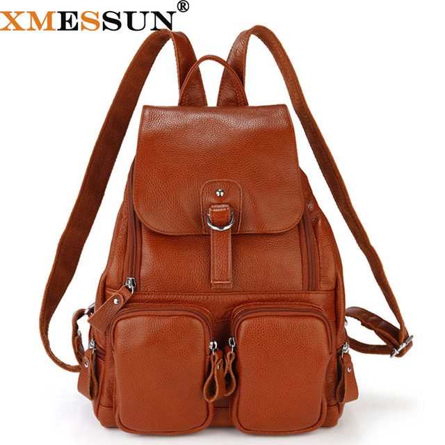 XMESSUN Brand Guaranteed 100% Genuine Leather Backpack Designer Women School  Travel Bag Real Leather Shoulder Bag Backpacks B537 a74325f091c4e