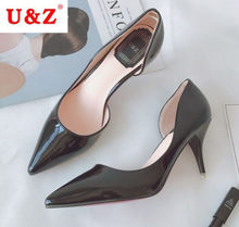 U&Z Brand pointed toe Black patent leather D'Orsay pumps,Nude office women 65mm middle heel one side open shoes comfort pumps(China)