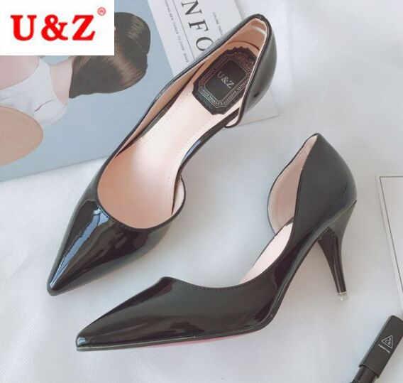 U & Z di Marca punta a punta in vernice Nera D' Orsay pompe, nude ufficio delle donne 65mm tacco medio un lato aperto scarpe comfort pompe