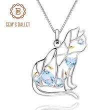 GEMS BALLET Cat Shape Natural Sky Blue Topaz Animal Jewelry 925 Sterling Silver Handmade Gemstone Pendant Necklace For Women