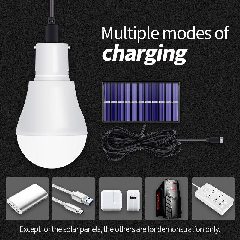 LED Solar Light USB 5V-8V Solar Led Lamp 15W lampe solaire 250LM Solar Power Led Bulb Emergency Energy Saving Light Bulb Outdoor