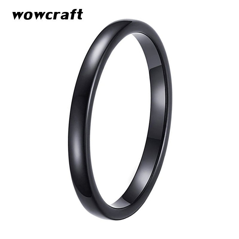 2mm Women 39 s Black Tungsten Carbide Polished Classic Engagement Wedding Band ring Comfort Fit in Wedding Bands from Jewelry amp Accessories