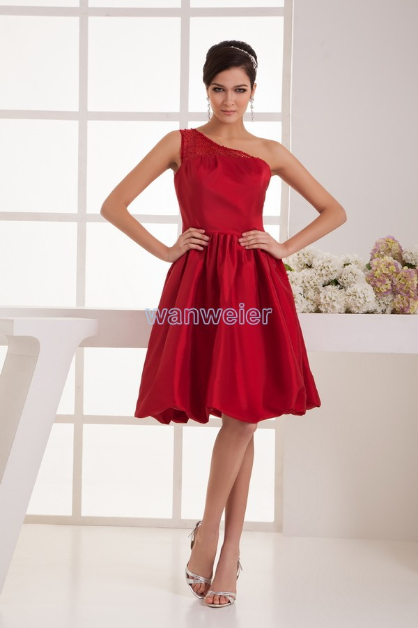 free shipping brides maid dress 2017 new arrival one shoulder plus size women's formal gown mint red beading bridesmaids dresses