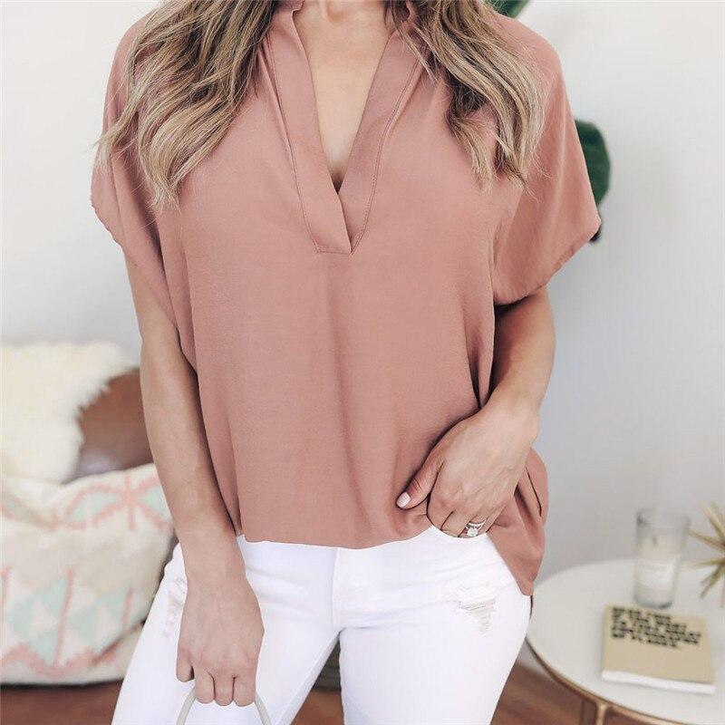 10c57d3b087 Для женщин женские летние шифон короткий рукав Повседневная рубашка блузка  модные женские блузки 2018 Топы E Blusas Para Mulher A1