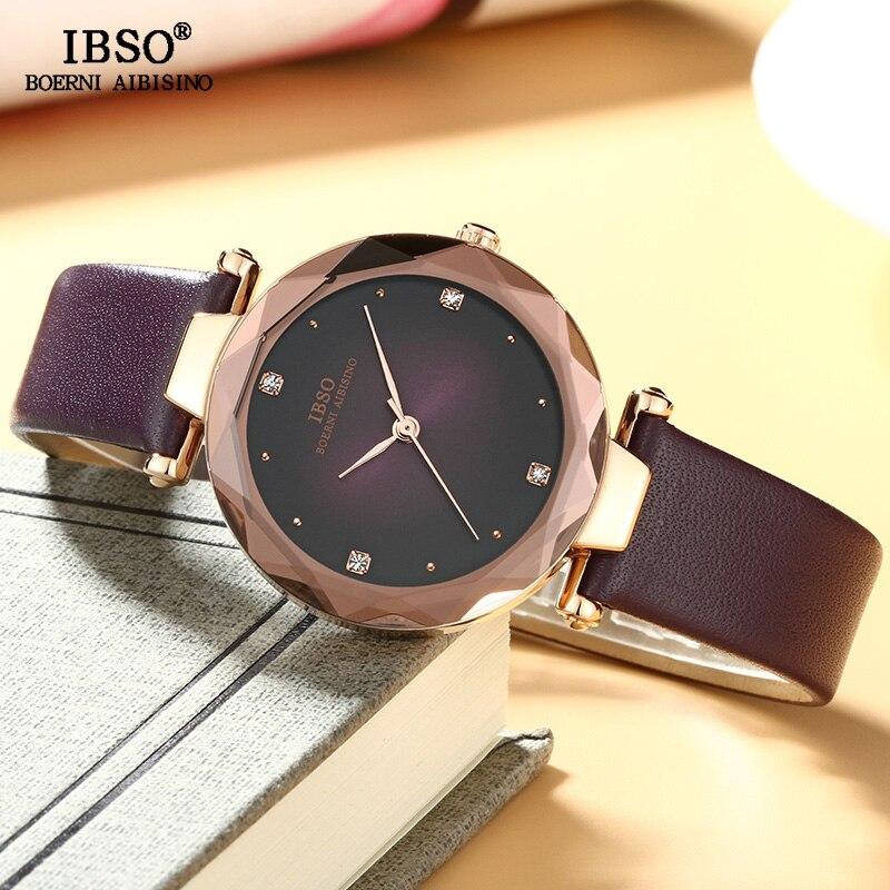 IBSO mode cristal Design montre pour femme bracelet en cuir montres de luxe dames Quartz montre femmes Relogio FemininoIBSO mode cristal Design montre pour femme bracelet en cuir montres de luxe dames Quartz montre femmes Relogio Feminino