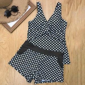Image 4 - Donne Dots Tankini Plus Size Costumi Da Bagno Push up Due pezzi Costume Da Bagno con Shorts a vita Alta Costume Da Bagno 2XL Polka di Stampa beachwear