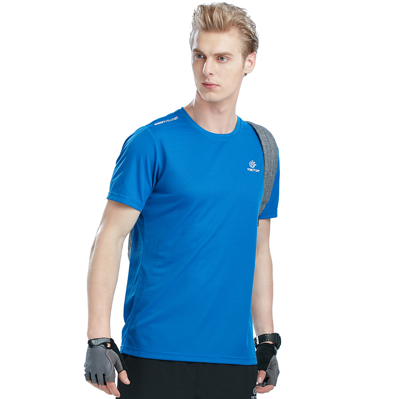 Tectop Summer Breath Short T-shirt Men Outdoor Sport T-Shirts Quick Dry Breathable Running Hiking Camping T Shirt For Male Sport