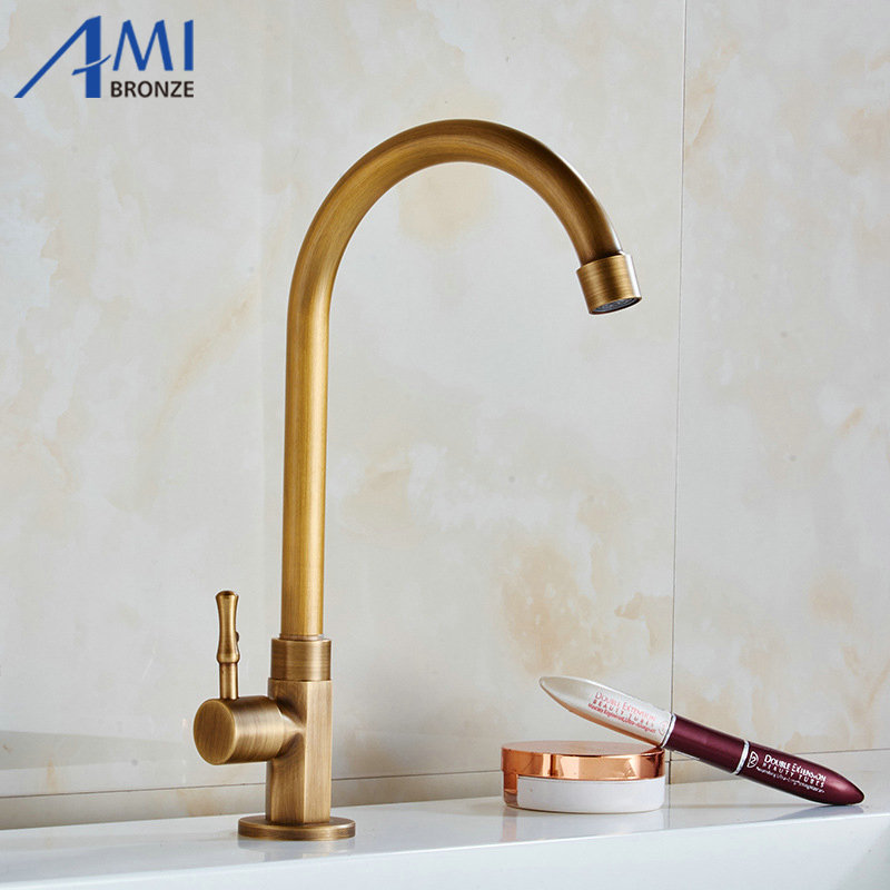 Single Cold Faucet Antique Brushed Brass Faucets Kitchen Swivel Sink Faucet Bathroom Basin Tap