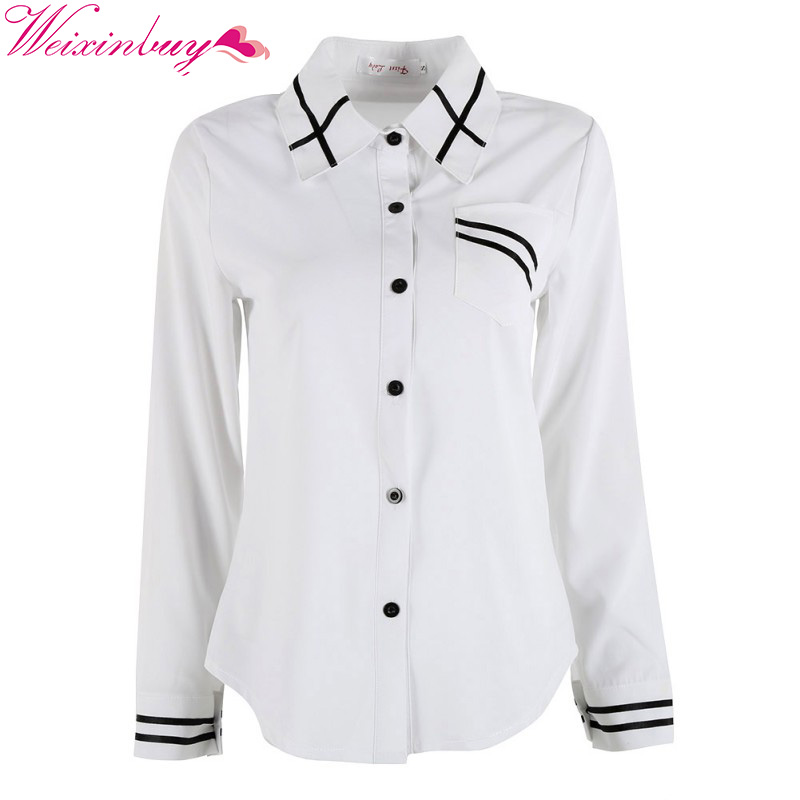 New Office Button Elegant Chiffon Women's Blouse Striped Long Sleeve - Women's Clothing - Photo 2