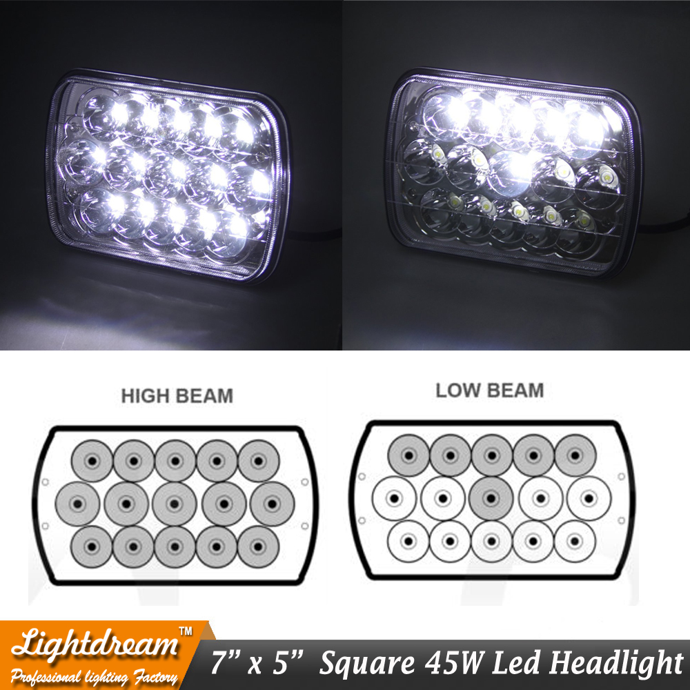 7x6 led möhürlənmiş şüa 7x5 45W Yüksək aşağı şüa 45W LED - Avtomobil işıqları - Fotoqrafiya 1