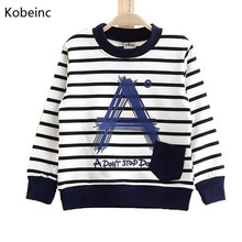 2016 Autumn Children Sweatshirts Cotton Boys Hoodies 2-7Y Kids Clothes Stripe A Pocket Moleton Infantil Long Sleeve Boy T Shirt