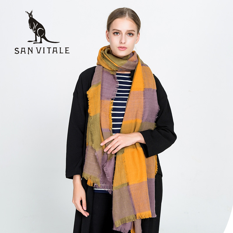 Scarves For Women Scarf Famous Brand Cape Gift Winter Warm Winter Cashmere Plaid Pashmina For Dress Luxury Brand Scarfs 2017 New
