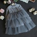 Inverno Da Menina Da Criança Vestido de Bebê Da Marca Roupas de Menina Bonita Do Laço de Tule Vestido de Casamento Menina Roupas Crianças Traje Do Partido de Férias