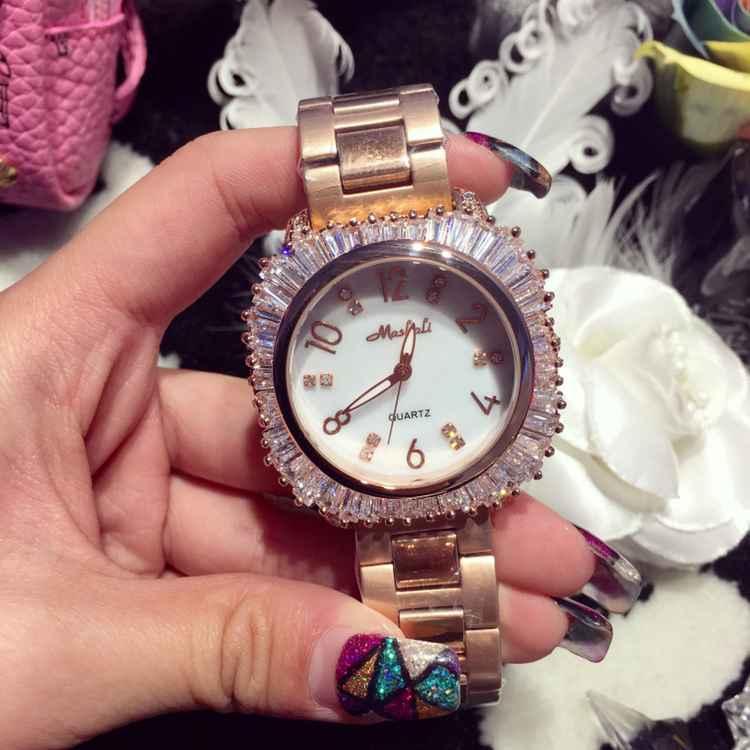 ФОТО Luxury Ladies Fashion Rhinestone Dress Quartz Watch Women Rose Gold Crystal Dial Wristwatch Reloje Mujer Montre Femme OP001